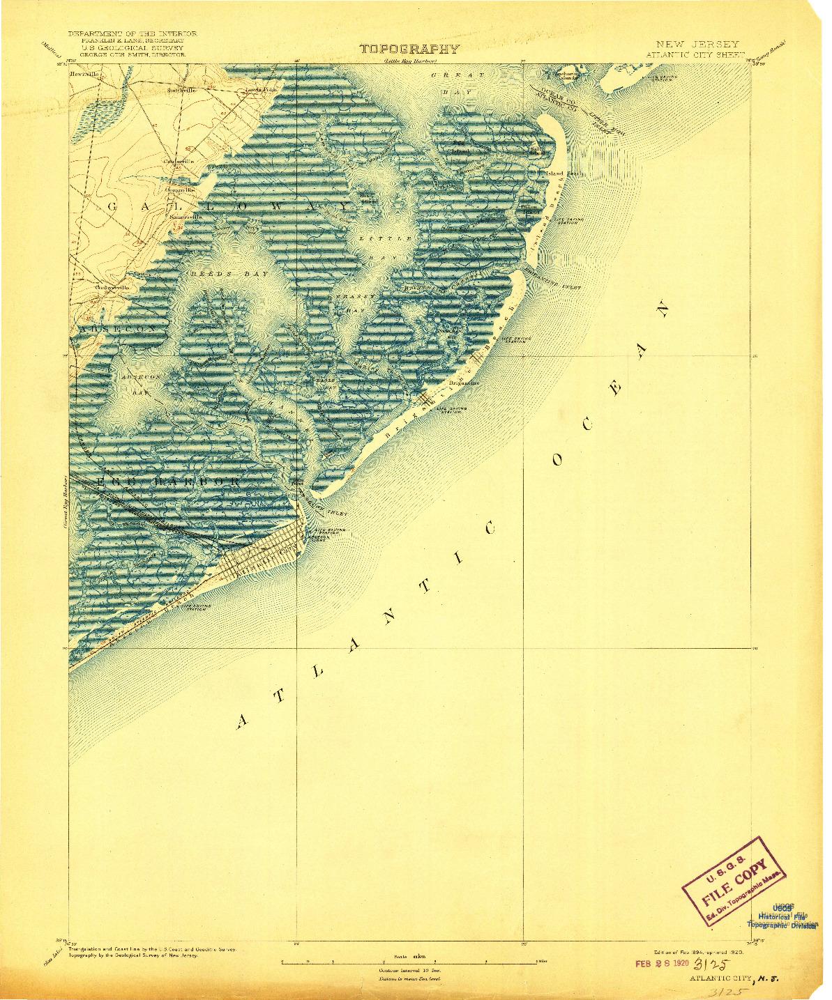 USGS 1:62500-SCALE QUADRANGLE FOR ATLANTIC CITY, NJ 1894