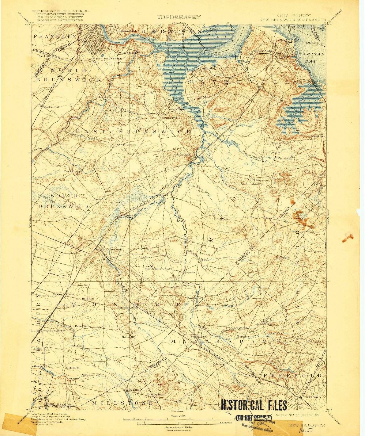 USGS 1:62500-SCALE QUADRANGLE FOR NEW BRUNSWICK, NJ 1901