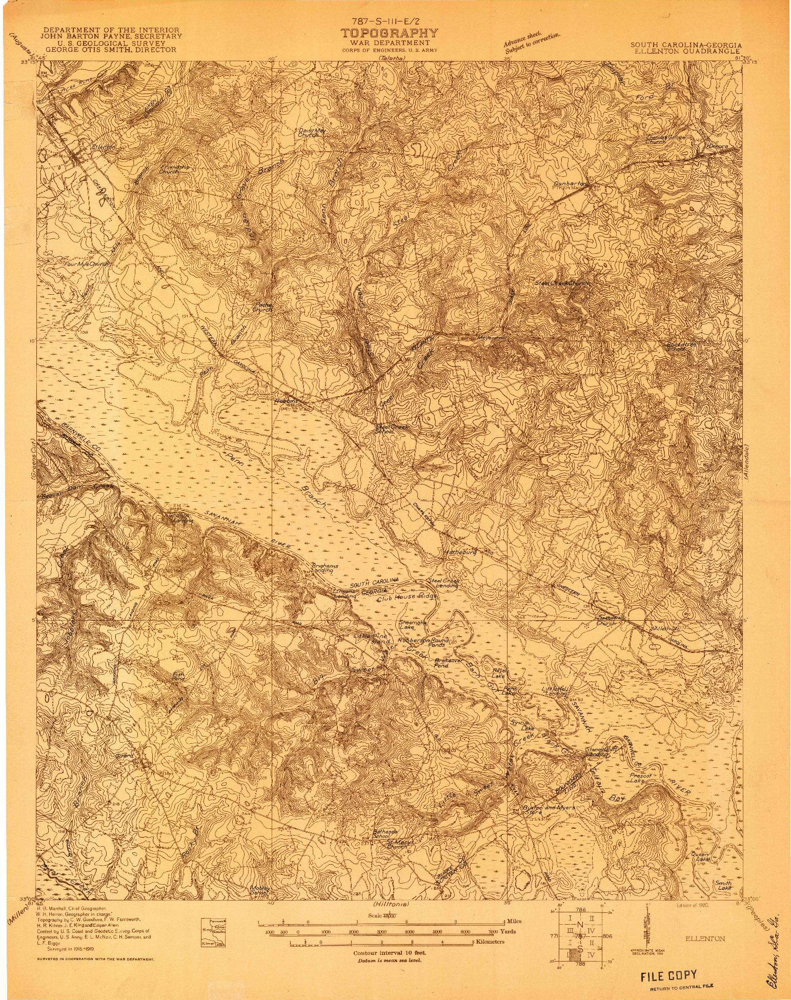 USGS 1:48000-SCALE QUADRANGLE FOR ELLENTON, SC 1920