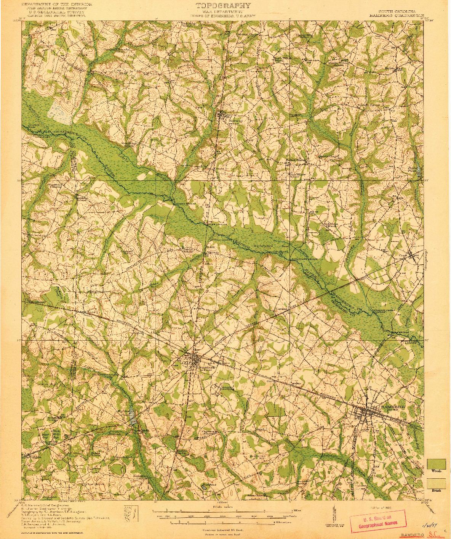 USGS 1:62500-SCALE QUADRANGLE FOR BAMBERG, SC 1920