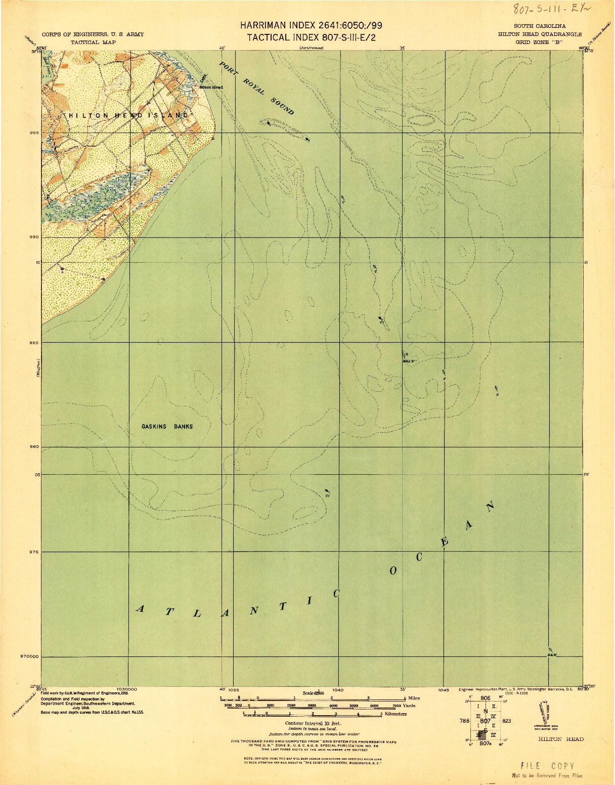 USGS 1:62500-SCALE QUADRANGLE FOR HILTON HEAD, SC 1920