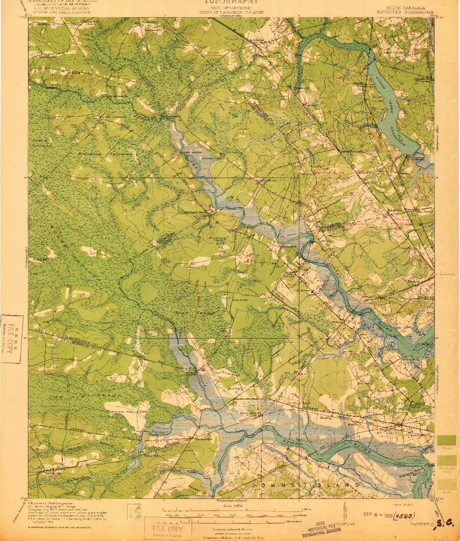 USGS 1:62500-SCALE QUADRANGLE FOR RAVENELS, SC 1920