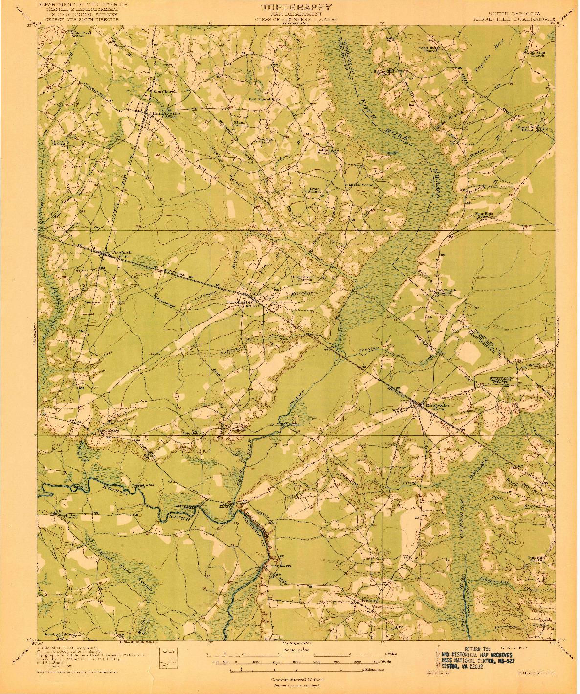 USGS 1:62500-SCALE QUADRANGLE FOR RIDGEVILLE, SC 1920