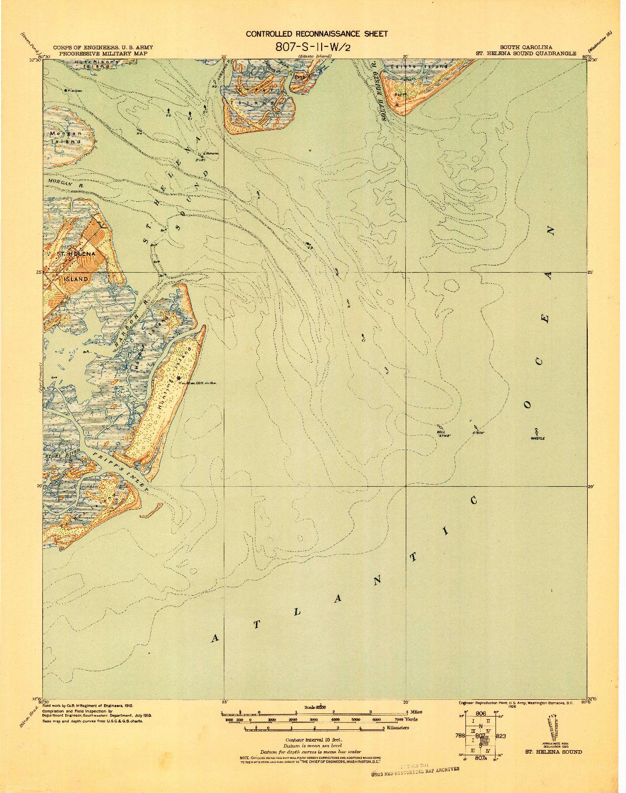 USGS 1:62500-SCALE QUADRANGLE FOR ST. HELENA SOUND, SC 1920