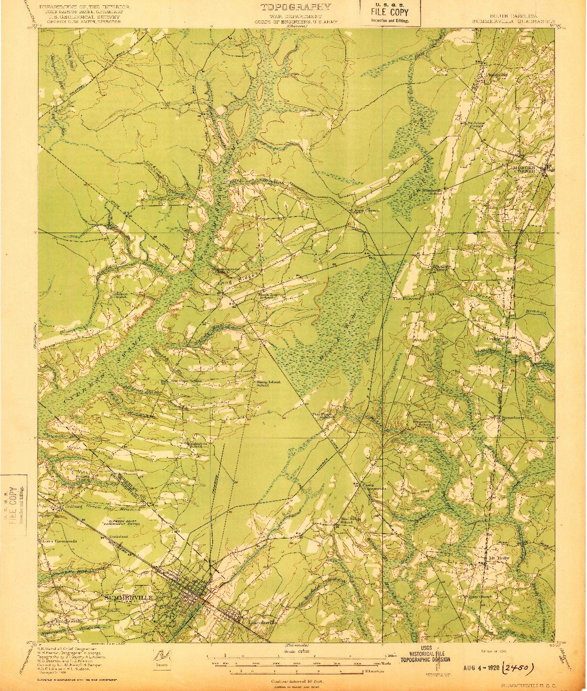 USGS 1:62500-SCALE QUADRANGLE FOR SUMMERVILLE, SC 1920
