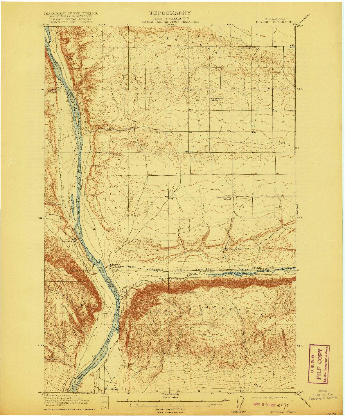 USGS 1:62500-SCALE QUADRANGLE FOR BEVERLY, WA 1912