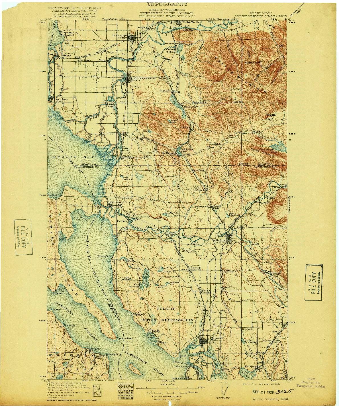 USGS 1:125000-SCALE QUADRANGLE FOR MOUNT VERNON, WA 1911