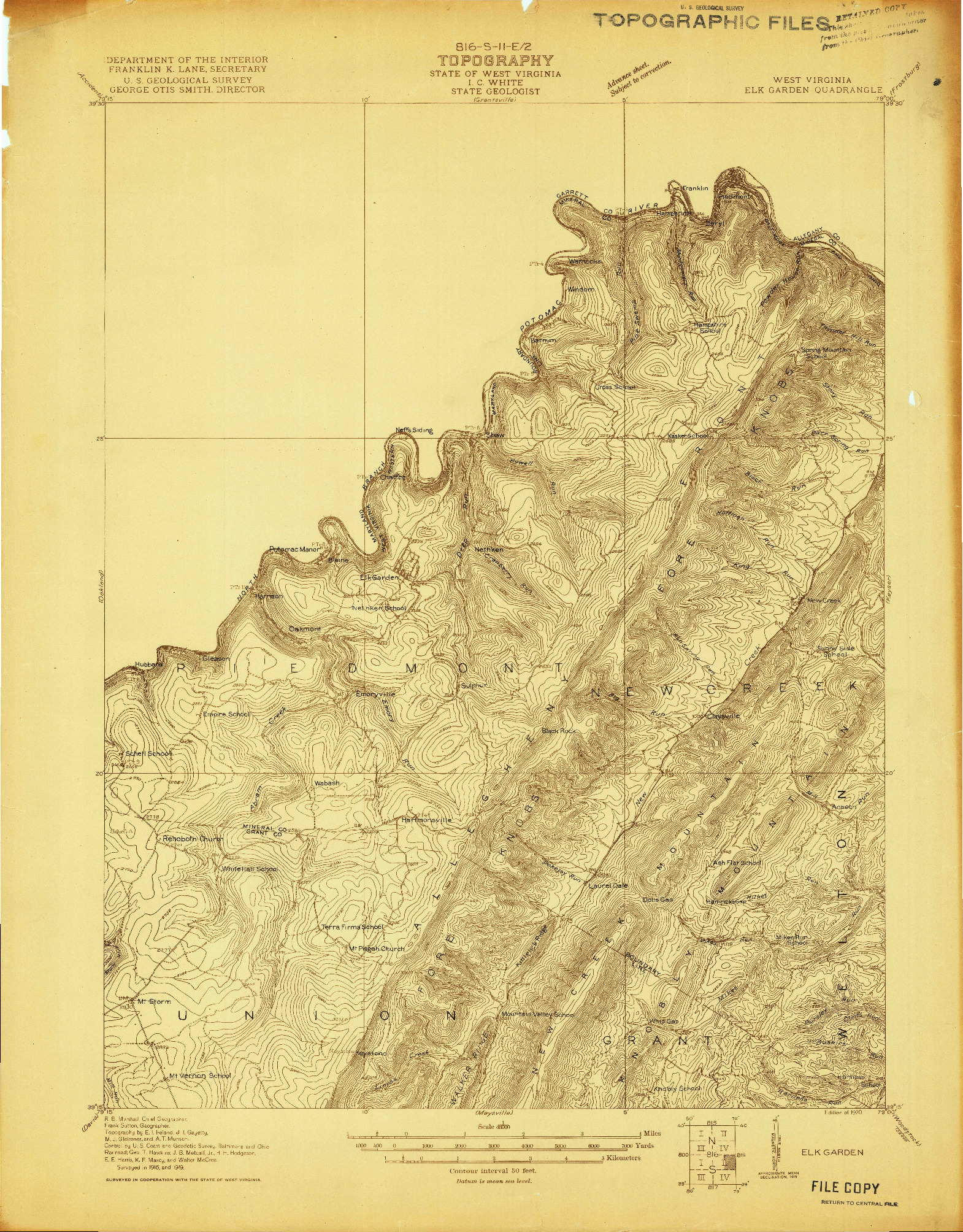 USGS 1:48000-SCALE QUADRANGLE FOR ELK GARDEN, WV 1920