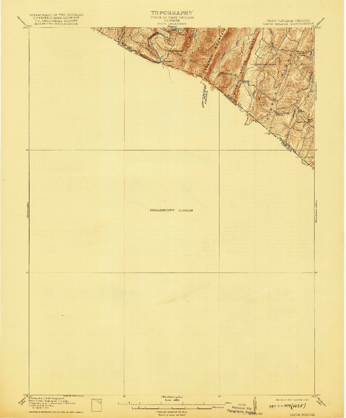 USGS 1:62500-SCALE QUADRANGLE FOR CAPON BRIDGE, WV 1916