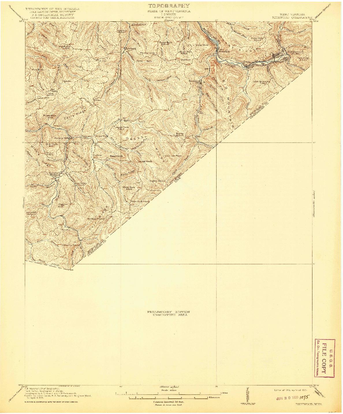 USGS 1:62500-SCALE QUADRANGLE FOR RICHWOOD, WV 1918