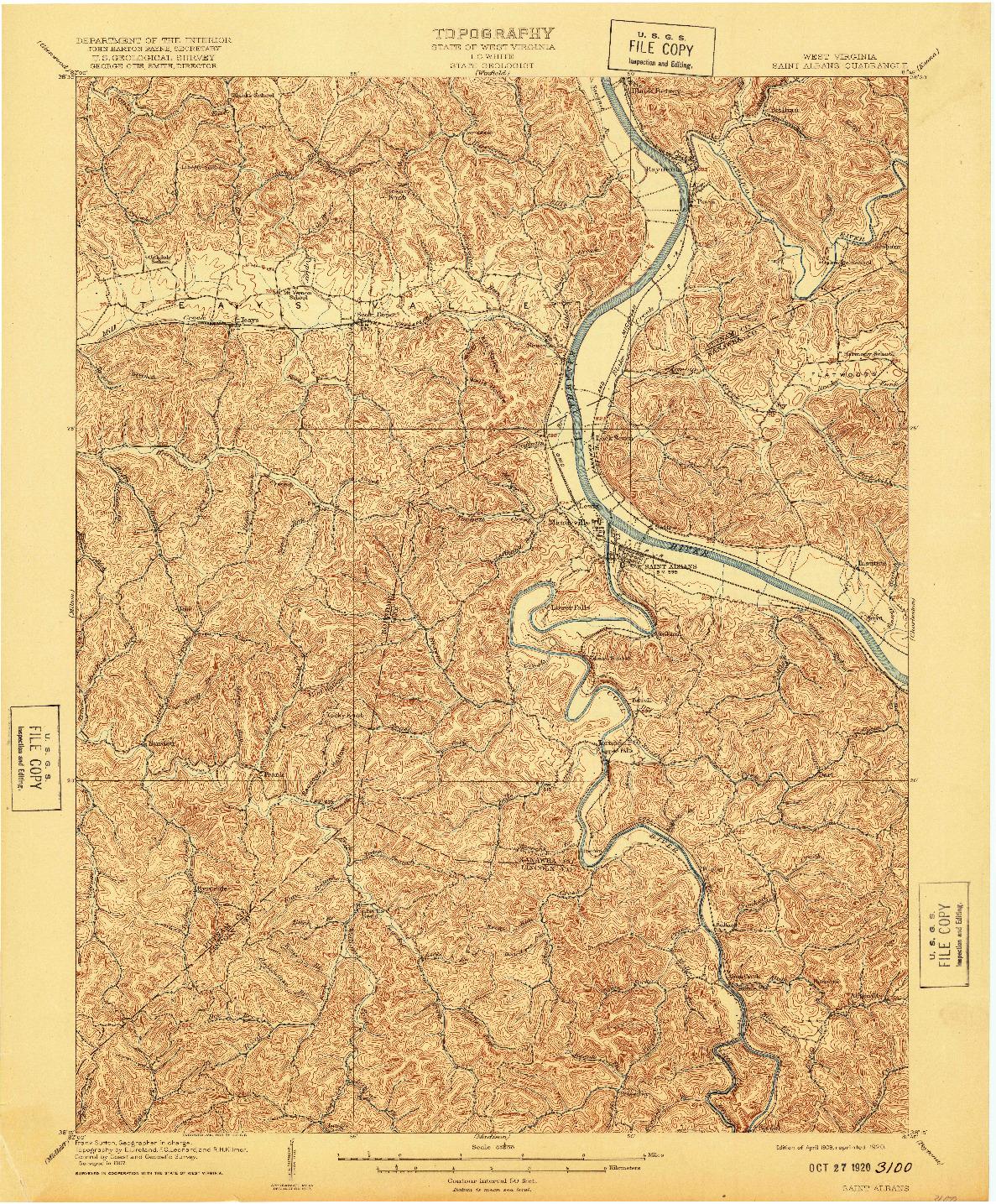 USGS 1:62500-SCALE QUADRANGLE FOR SAINT ALBANS, WV 1909