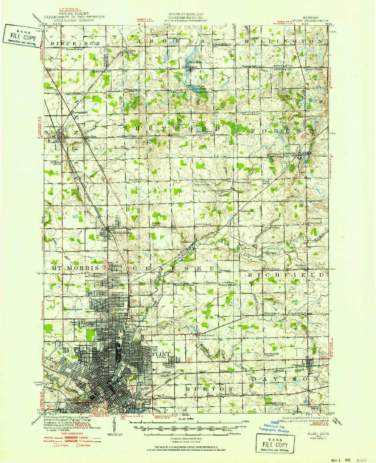USGS 1:62500-SCALE QUADRANGLE FOR FLINT, MI 1920