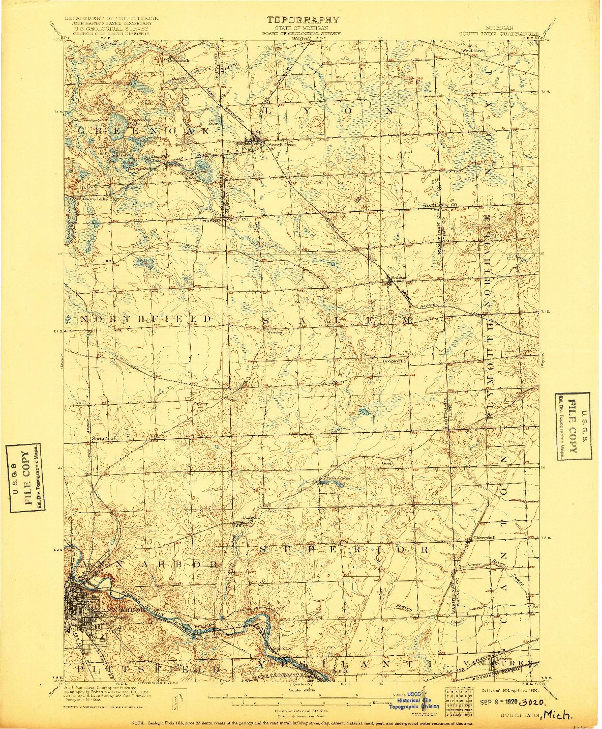 USGS 1:62500-SCALE QUADRANGLE FOR SOUTH LYON, MI 1906