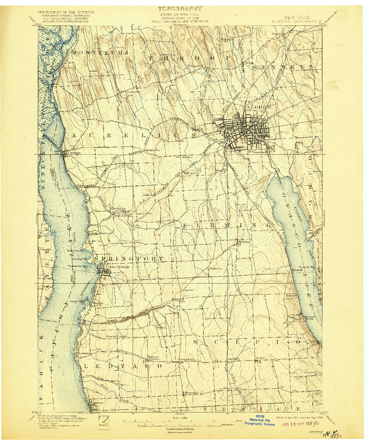 USGS 1:62500-SCALE QUADRANGLE FOR AUBURN, NY 1902