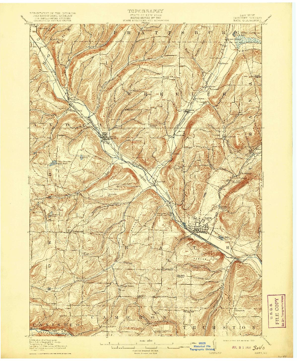 USGS 1:62500-SCALE QUADRANGLE FOR BATH, NY 1910