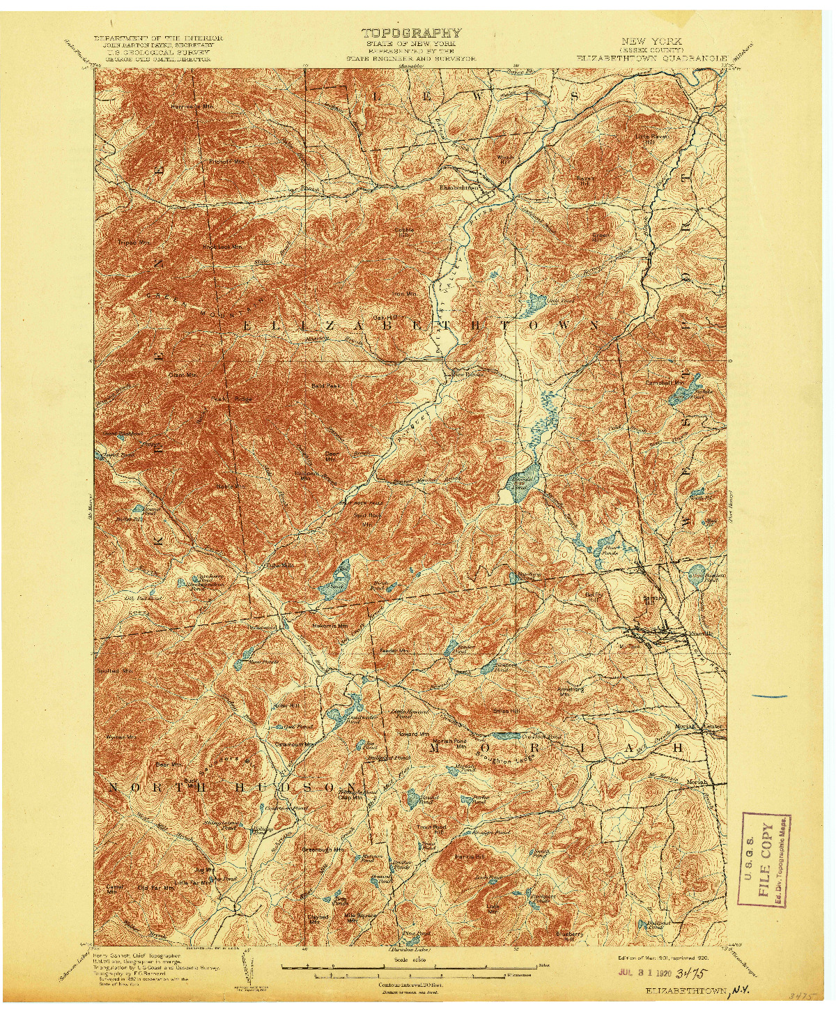 USGS 1:62500-SCALE QUADRANGLE FOR ELIZABETHTOWN, NY 1901