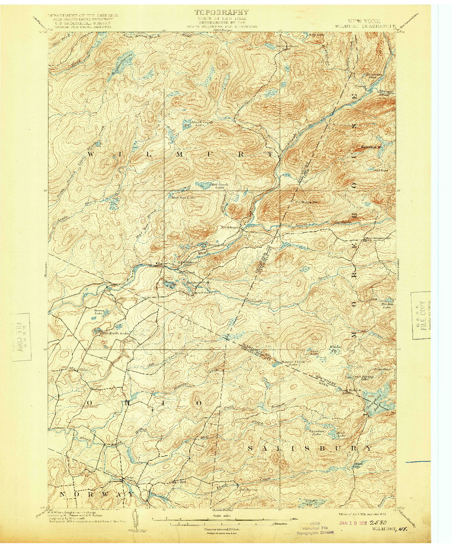 USGS 1:62500-SCALE QUADRANGLE FOR WILMURT, NY 1902