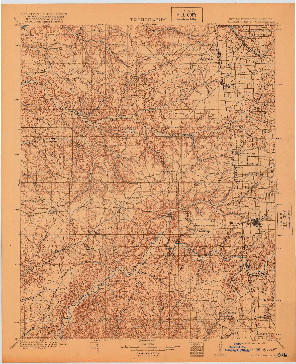 USGS 1:125000-SCALE QUADRANGLE FOR SILOAM SPRINGS, OK 1904