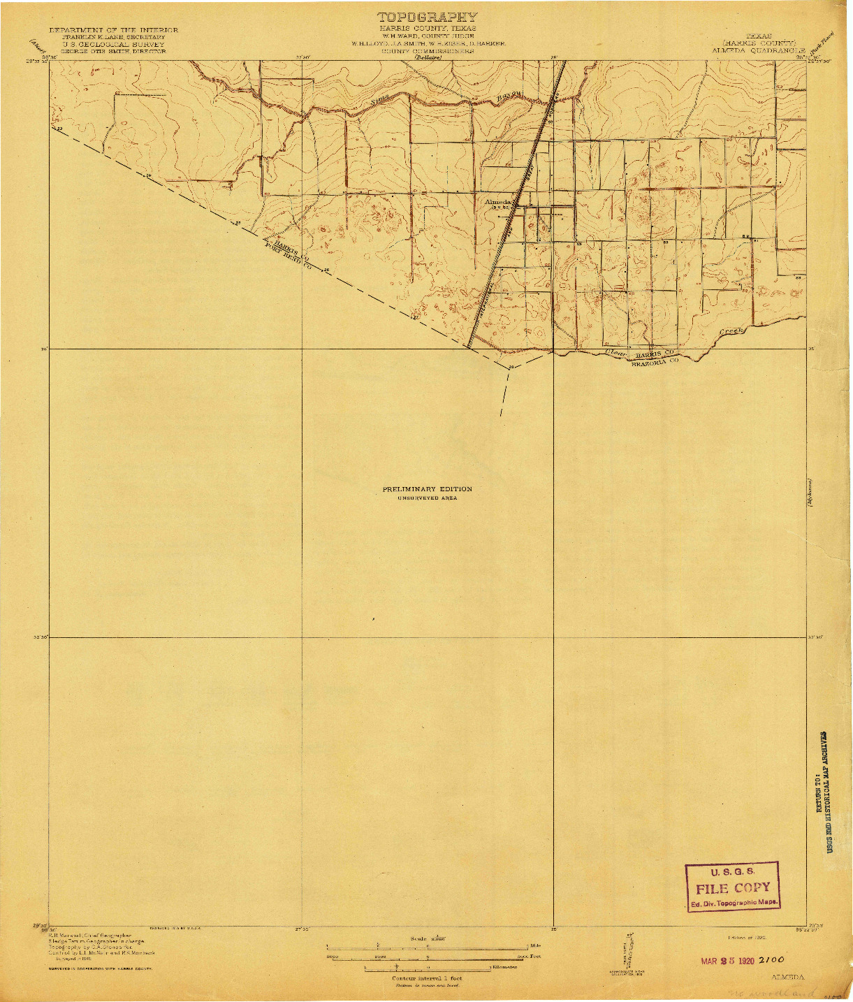 USGS 1:31680-SCALE QUADRANGLE FOR ALMEDA, TX 1920