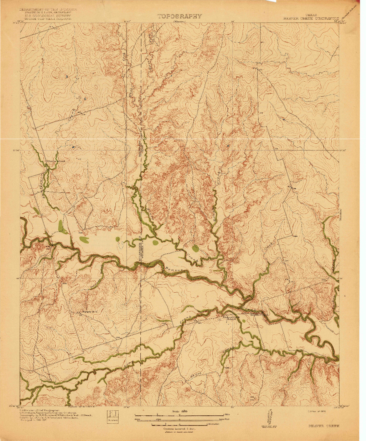 USGS 1:31680-SCALE QUADRANGLE FOR BEAVER CREEK, TX 1920