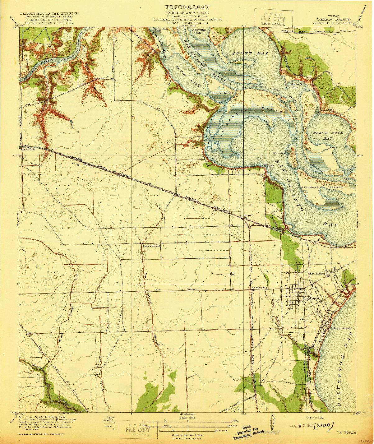 USGS 1:31680-SCALE QUADRANGLE FOR LA PORTE, TX 1920