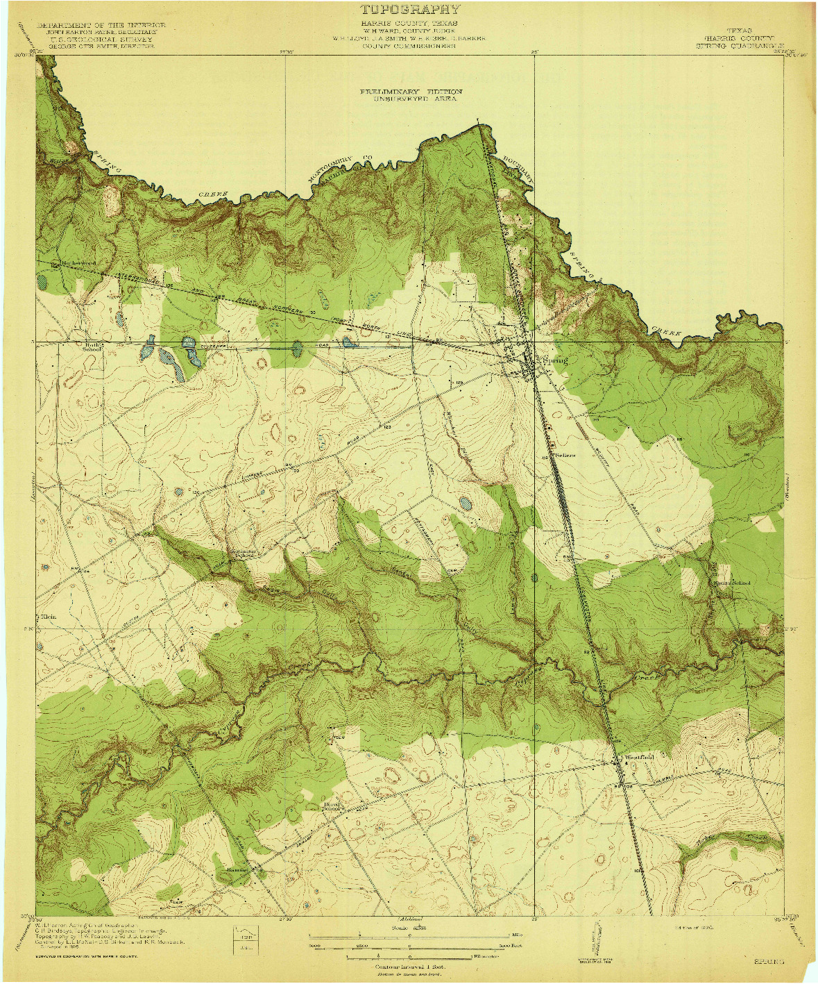 USGS 1:31680-SCALE QUADRANGLE FOR SPRING, TX 1920