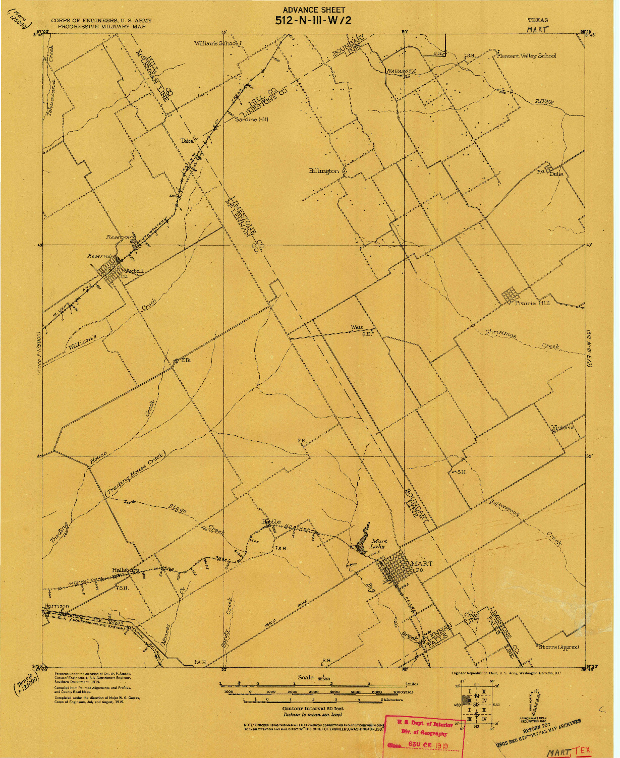 USGS 1:62500-SCALE QUADRANGLE FOR MART, TX 1920