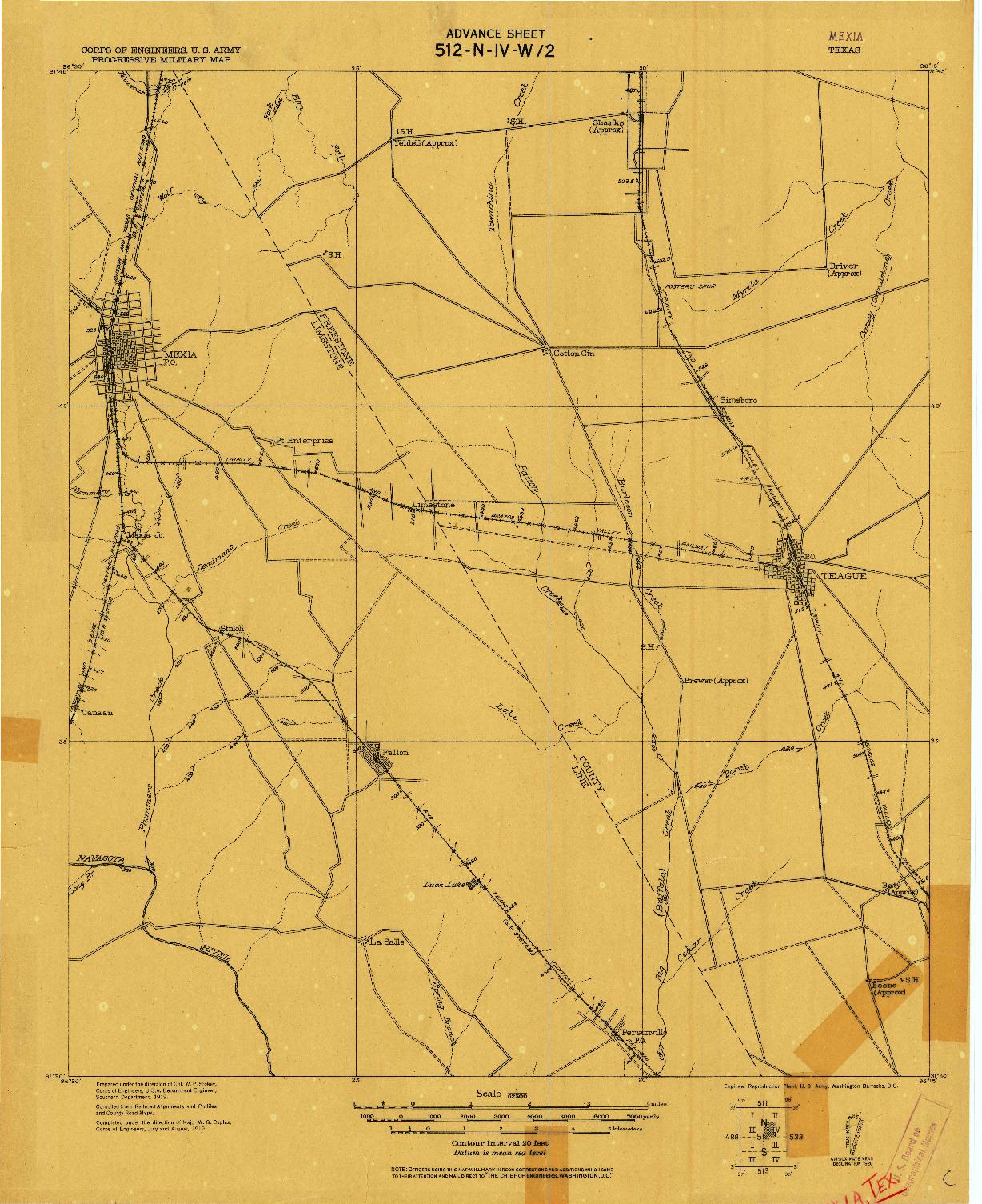 USGS 1:62500-SCALE QUADRANGLE FOR MEXIA, TX 1920