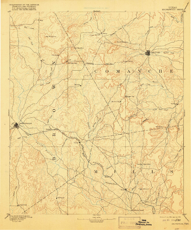 USGS 1:125000-SCALE QUADRANGLE FOR BROWNWOOD, TX 1894