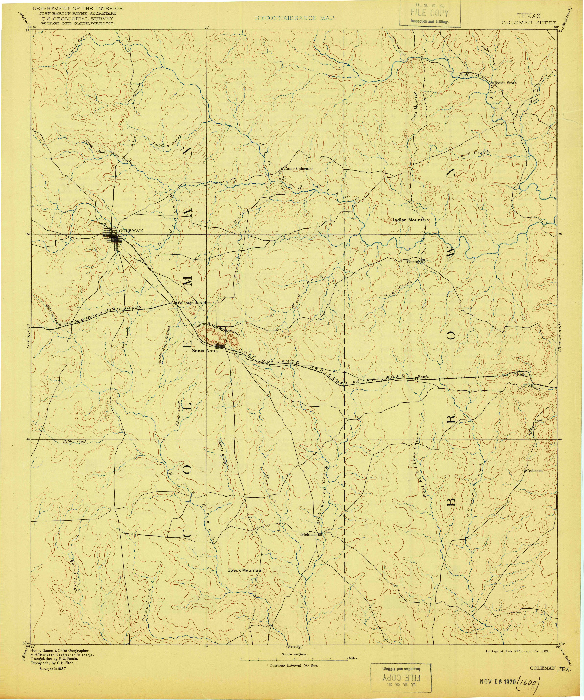 USGS 1:125000-SCALE QUADRANGLE FOR COLEMAN, TX 1889