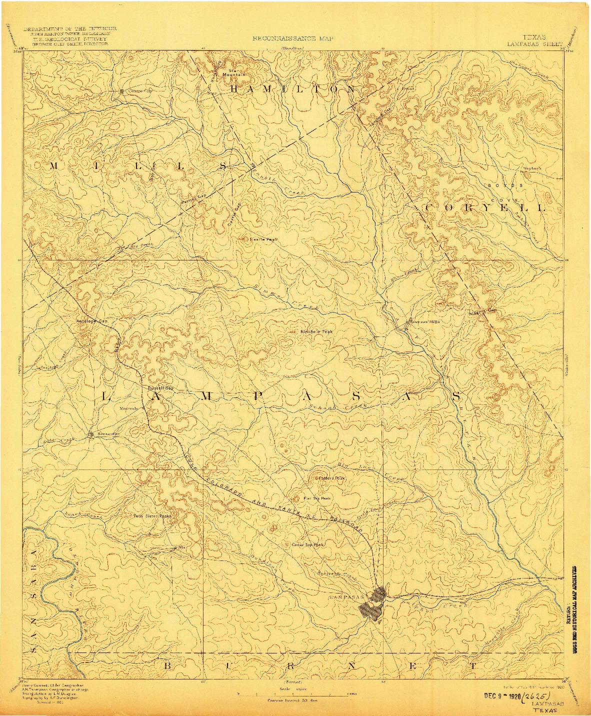 USGS 1:125000-SCALE QUADRANGLE FOR LAMPASAS, TX 1894