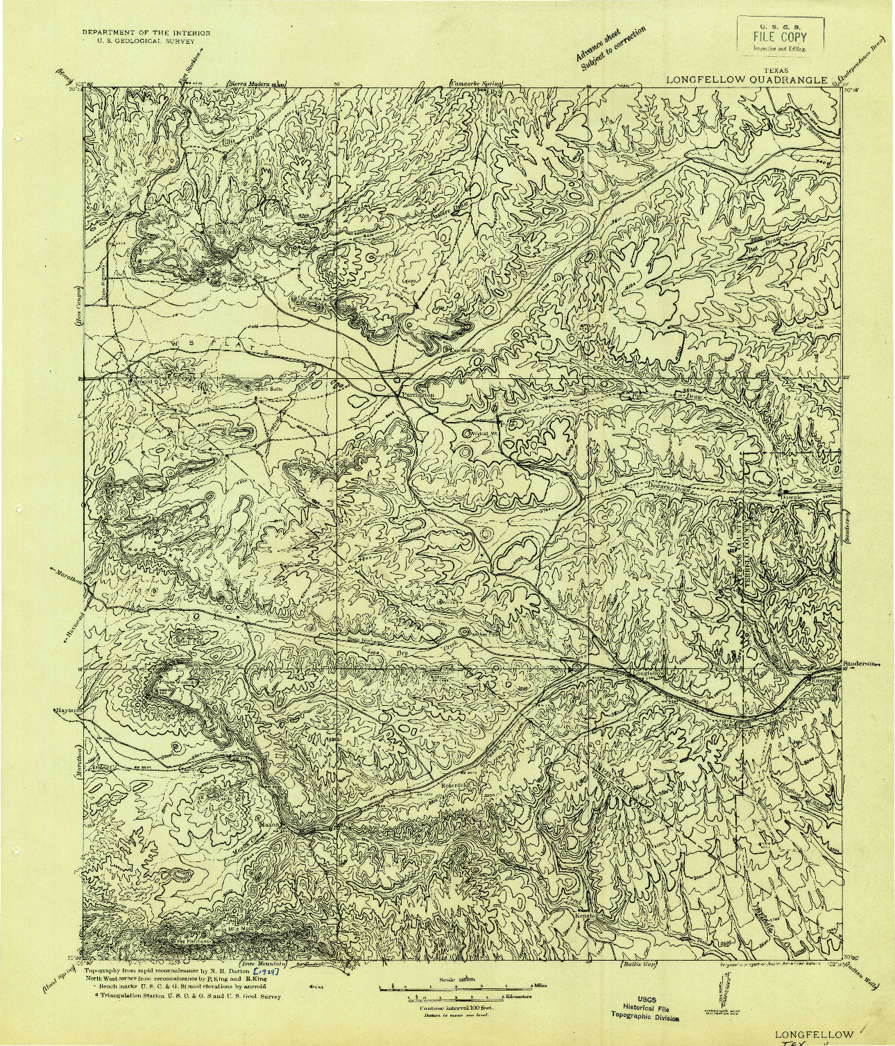 USGS 1:125000-SCALE QUADRANGLE FOR LONGFELLOW, TX 1920