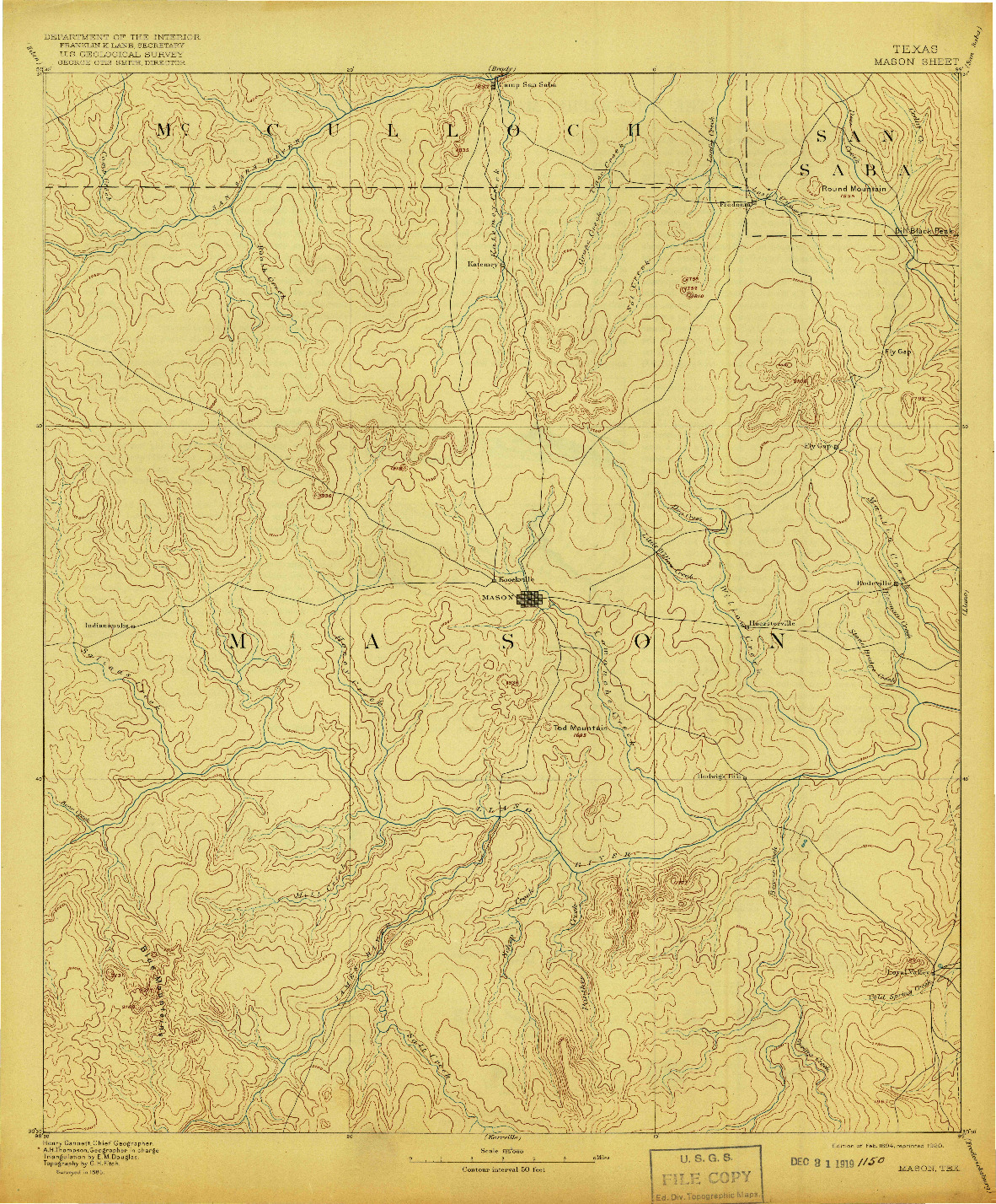 USGS 1:125000-SCALE QUADRANGLE FOR MASON, TX 1894