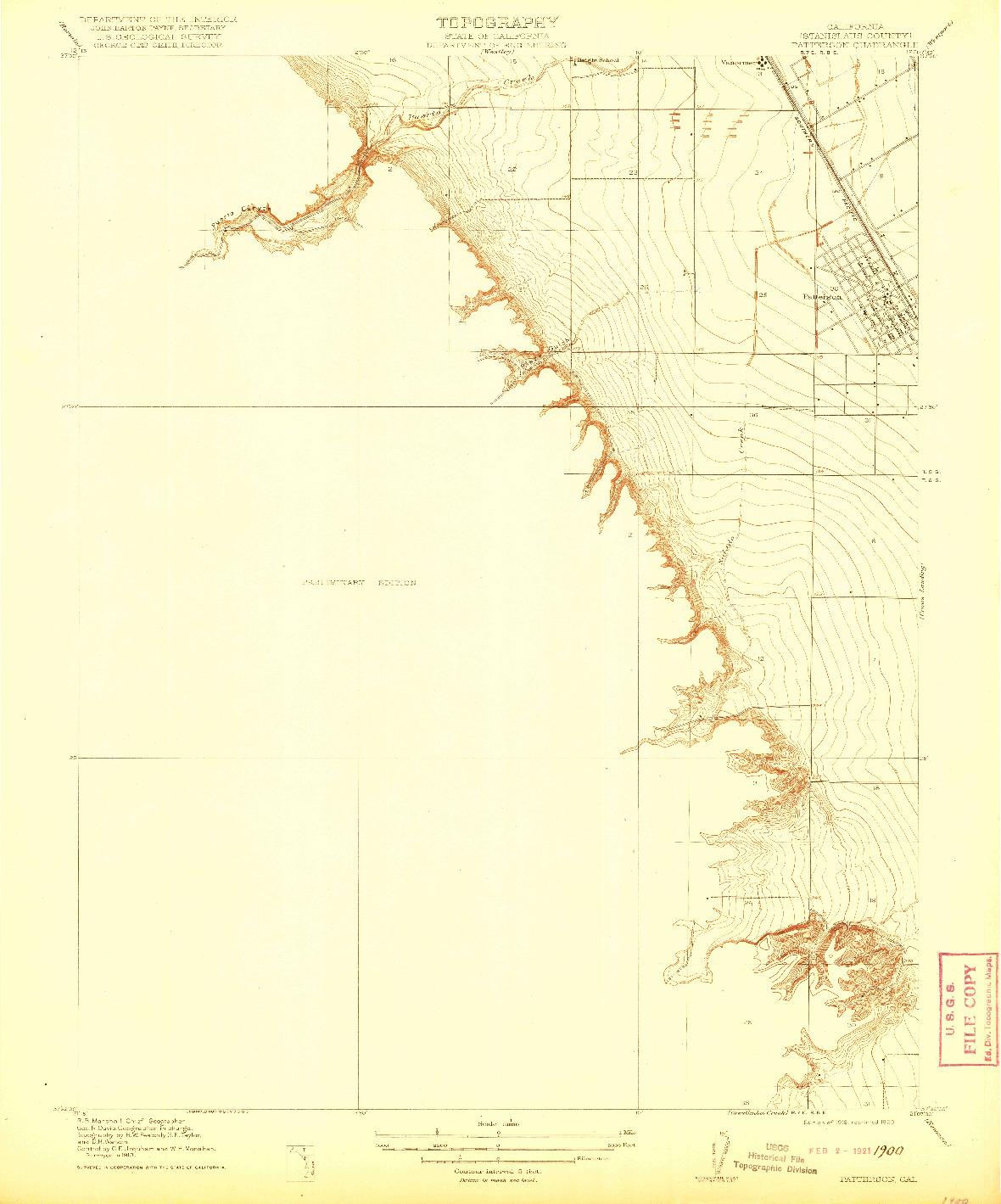 USGS 1:31680-SCALE QUADRANGLE FOR PATTERSON, CA 1916