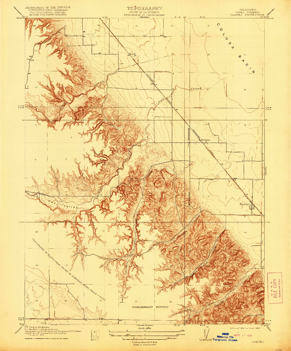 USGS 1:31680-SCALE QUADRANGLE FOR ZAMORA, CA 1916