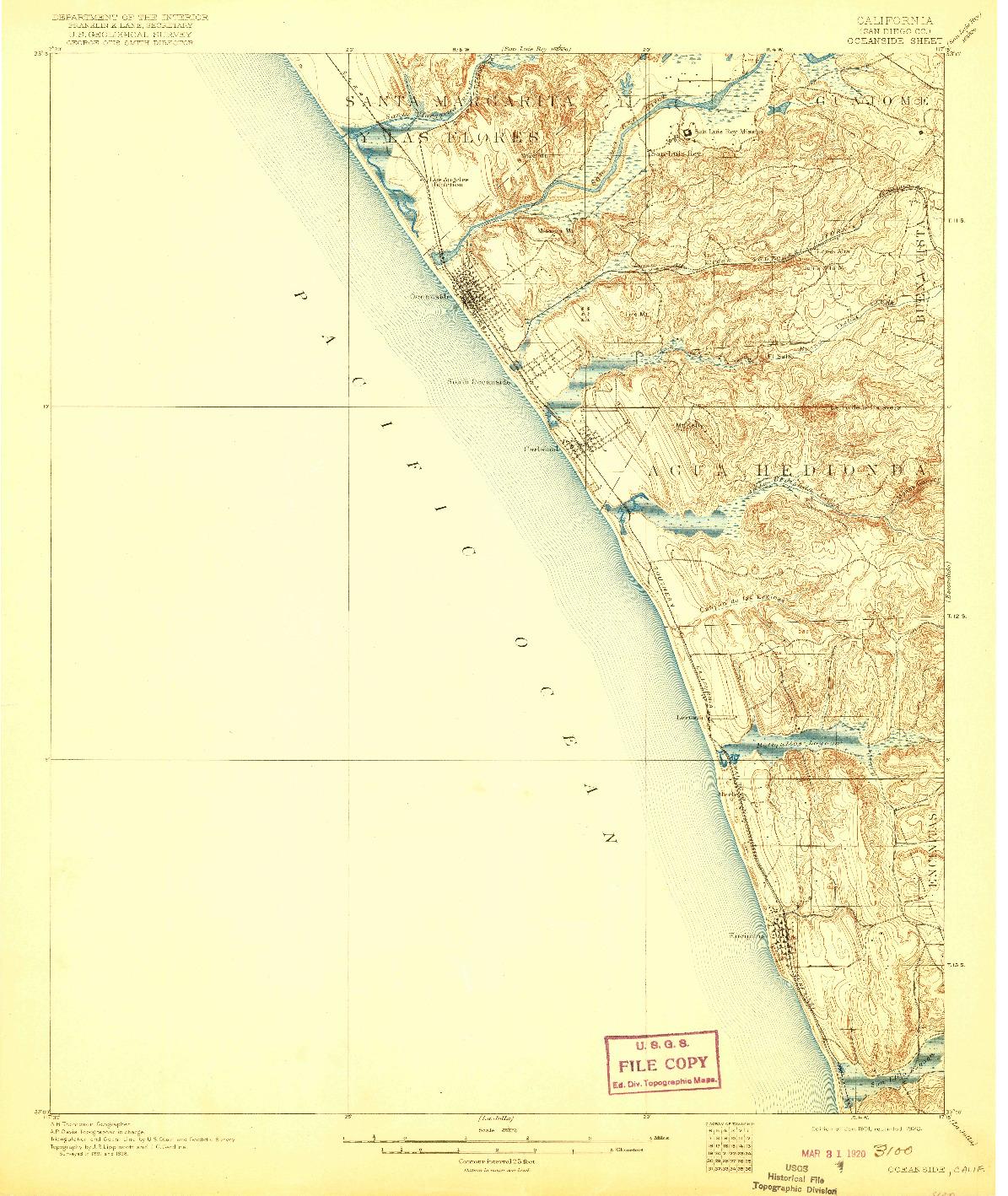 USGS 1:62500-SCALE QUADRANGLE FOR OCEANSIDE, CA 1901