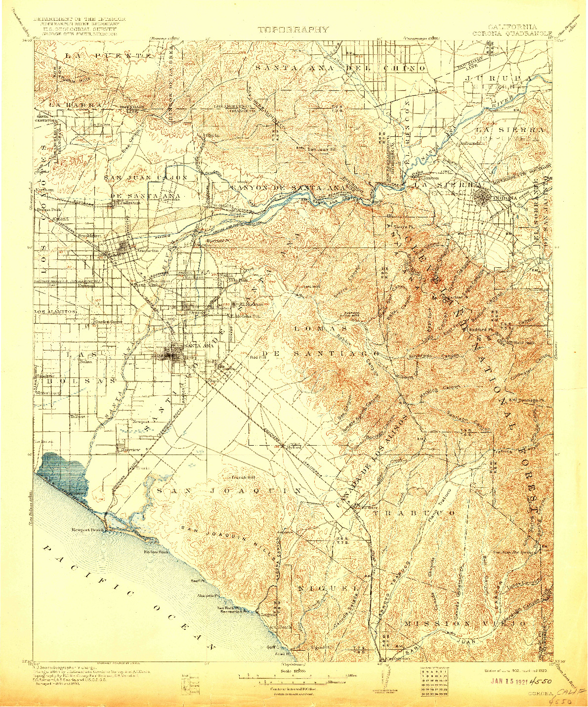 USGS 1:125000-SCALE QUADRANGLE FOR CORONA, CA 1902
