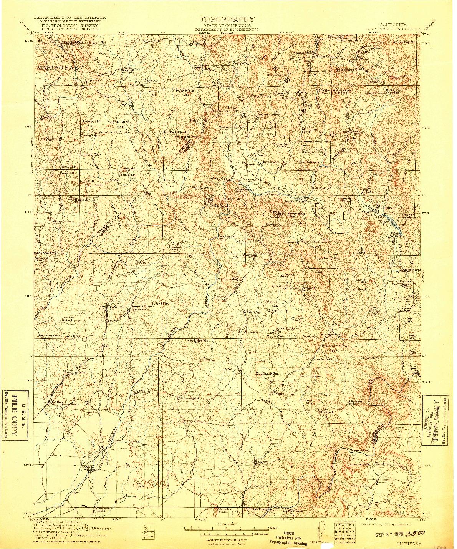 USGS 1:125000-SCALE QUADRANGLE FOR MARIPOSA, CA 1912