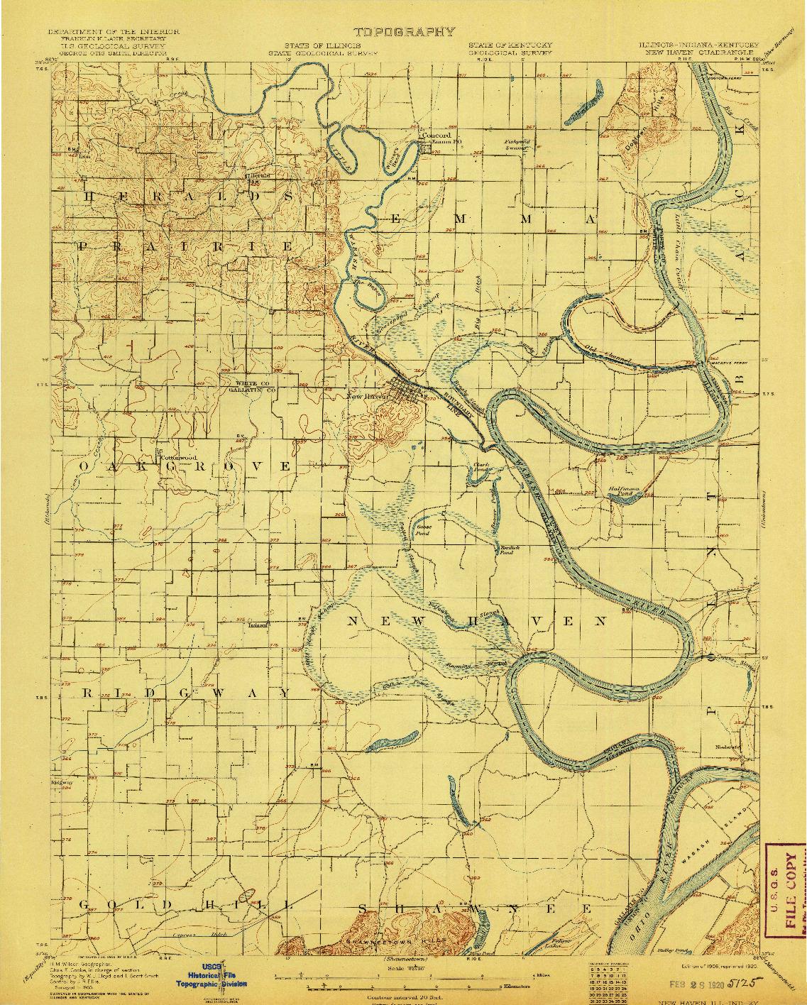 USGS 1:62500-SCALE QUADRANGLE FOR NEW HAVEN, IL 1906