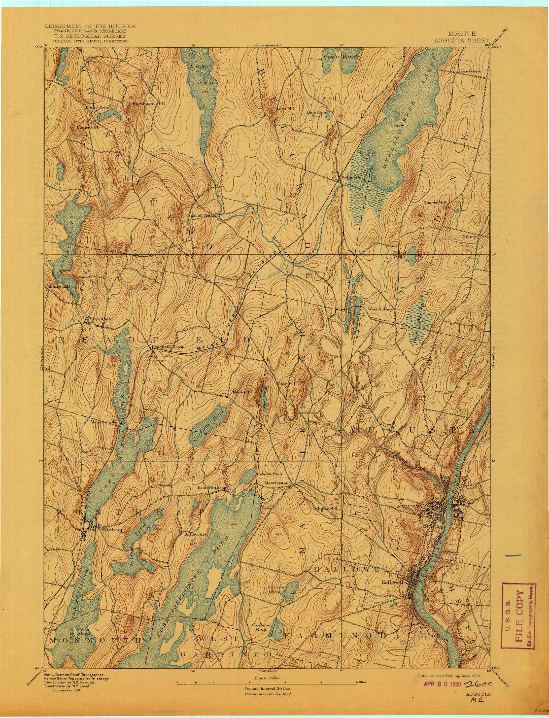 USGS 1:62500-SCALE QUADRANGLE FOR AUGUSTA, ME 1892