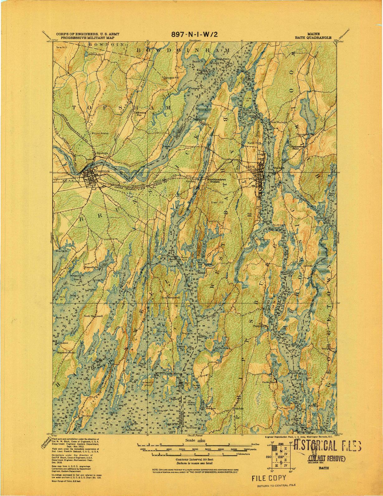 USGS 1:62500-SCALE QUADRANGLE FOR BATH, ME 1920