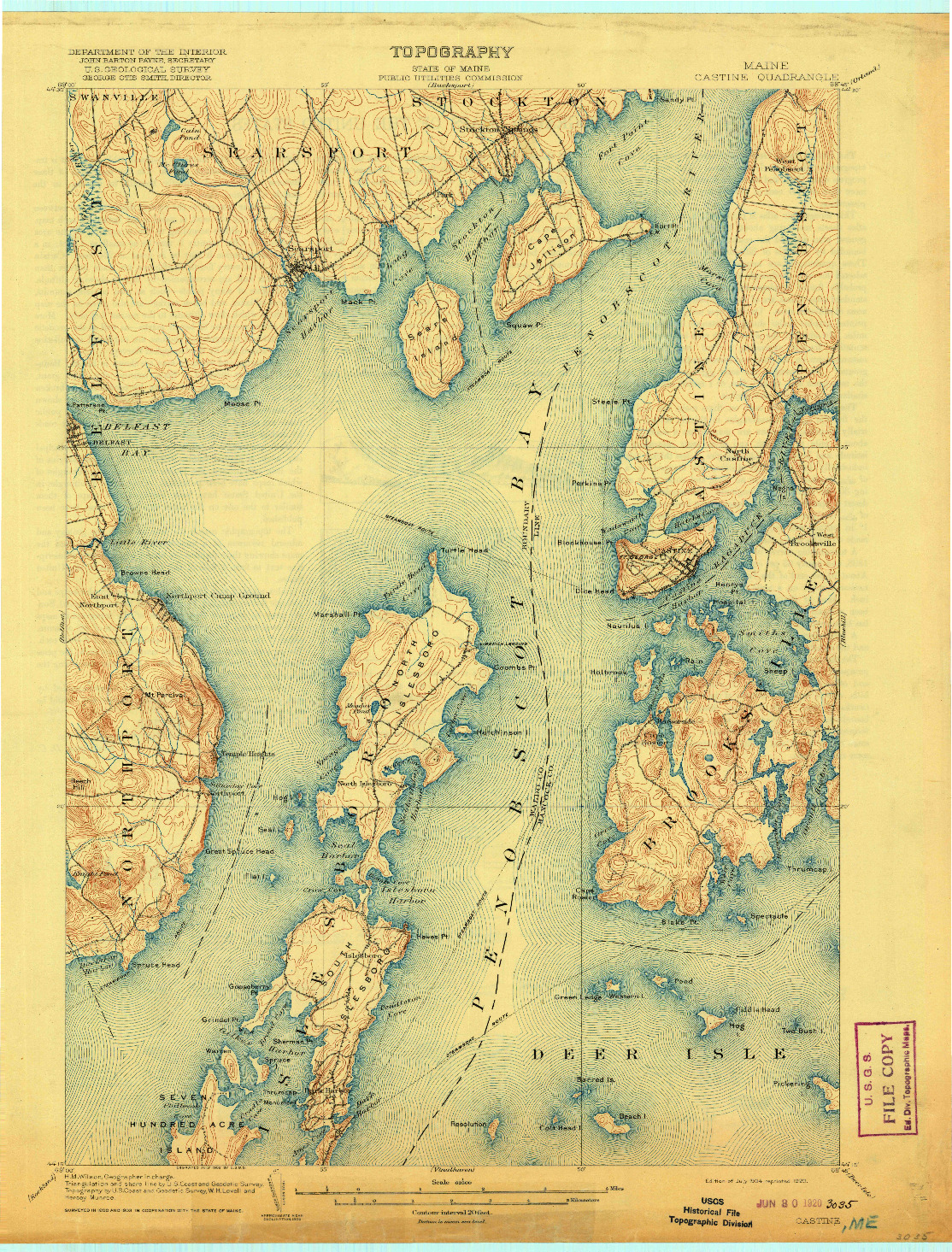 USGS 1:62500-SCALE QUADRANGLE FOR CASTINE, ME 1904