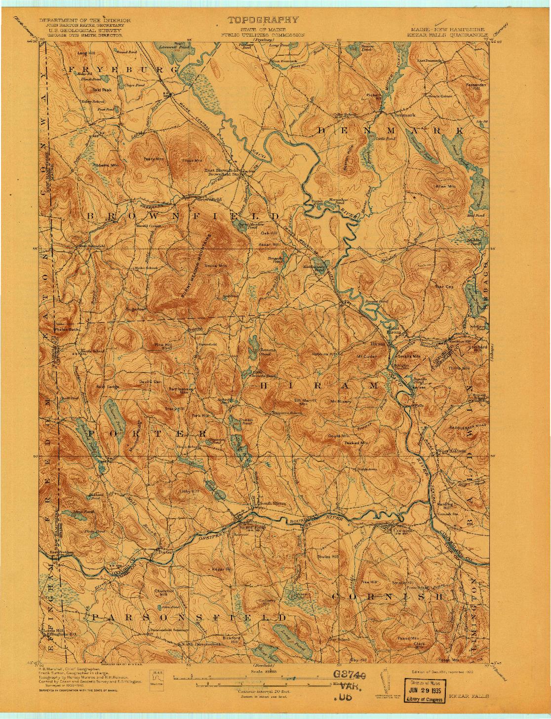 USGS 1:62500-SCALE QUADRANGLE FOR KEZAR FALLS, ME 1911