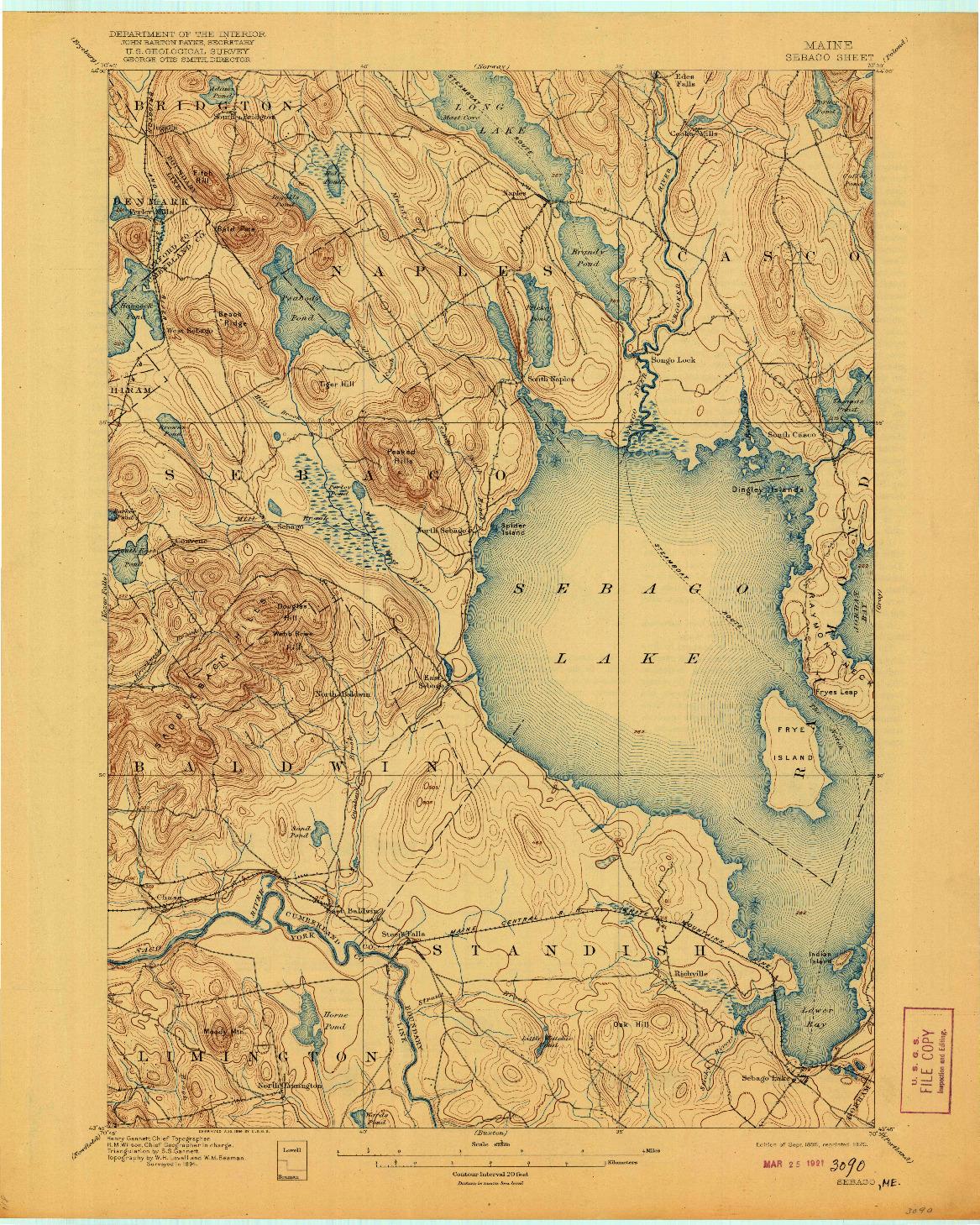 USGS 1:62500-SCALE QUADRANGLE FOR SEBAGO, ME 1896