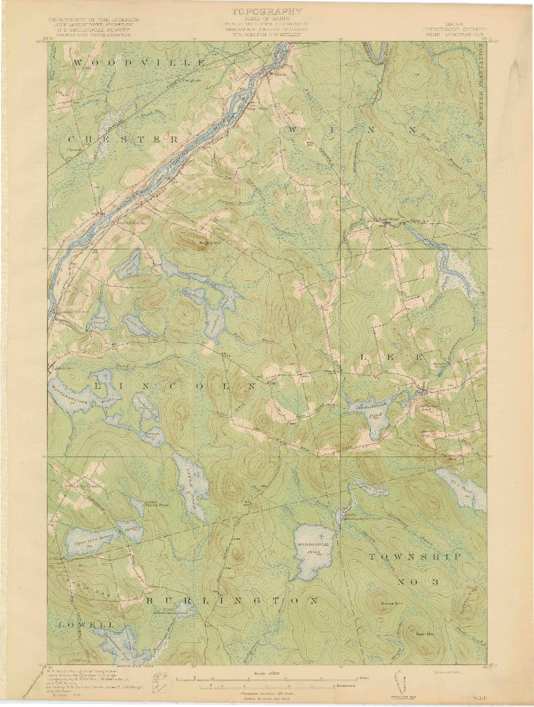 USGS 1:62500-SCALE QUADRANGLE FOR WINN, ME 1920