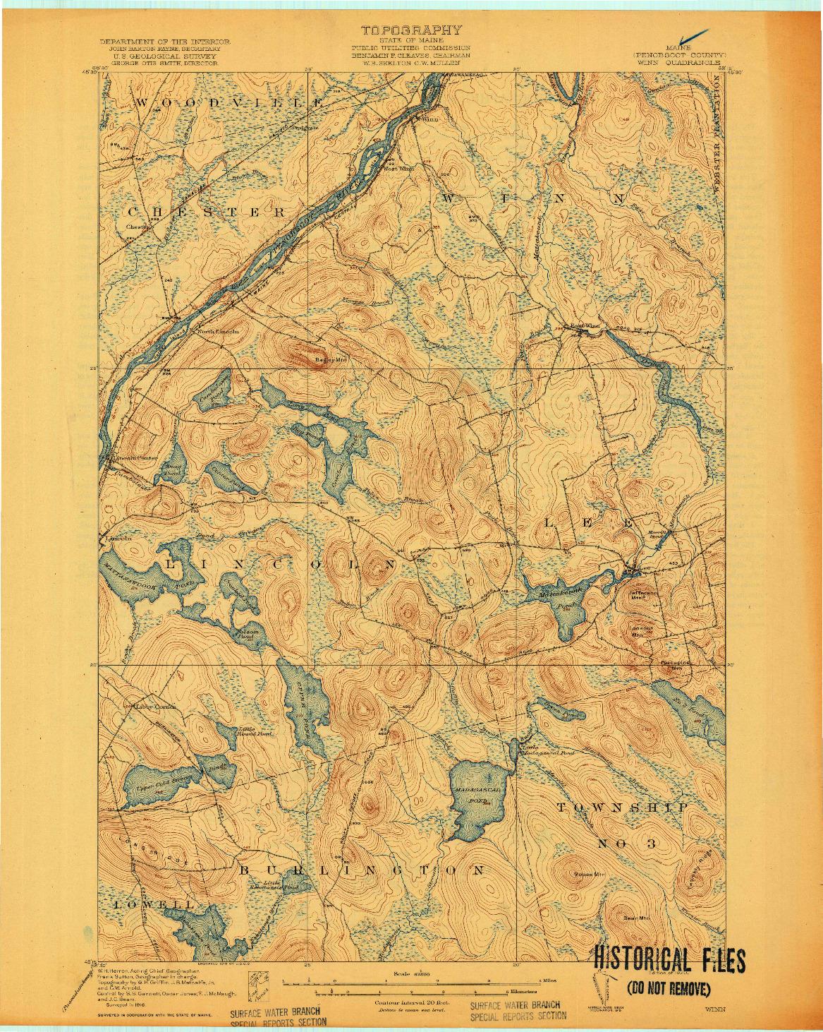 USGS 1:62500-SCALE QUADRANGLE FOR WINN, ME 1920