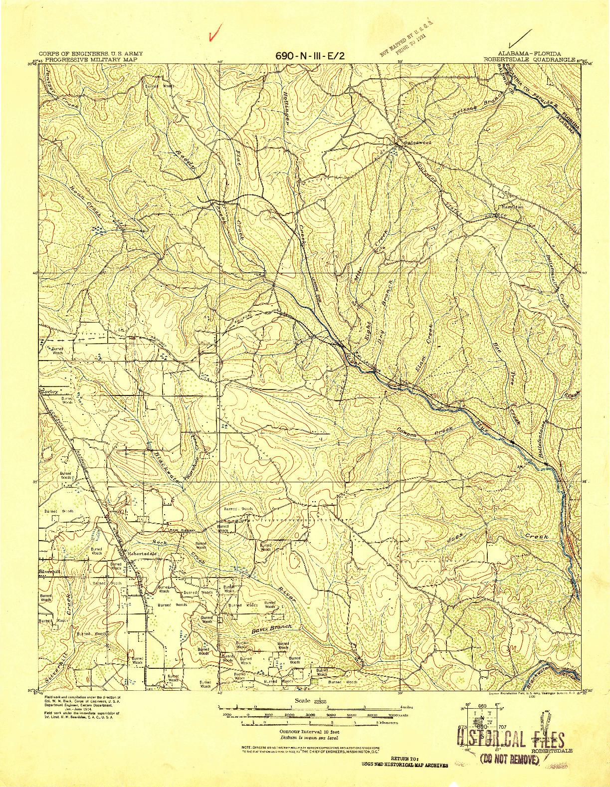 USGS 1:62500-SCALE QUADRANGLE FOR ROBERTSDALE, AL 1920