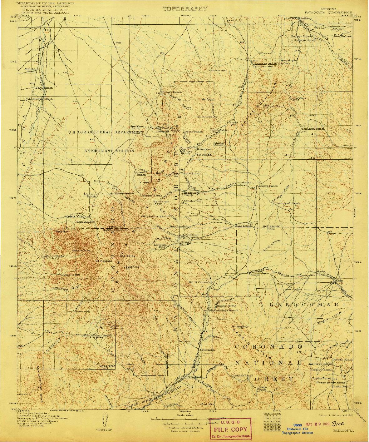 USGS 1:125000-SCALE QUADRANGLE FOR PATAGONIA, AZ 1905