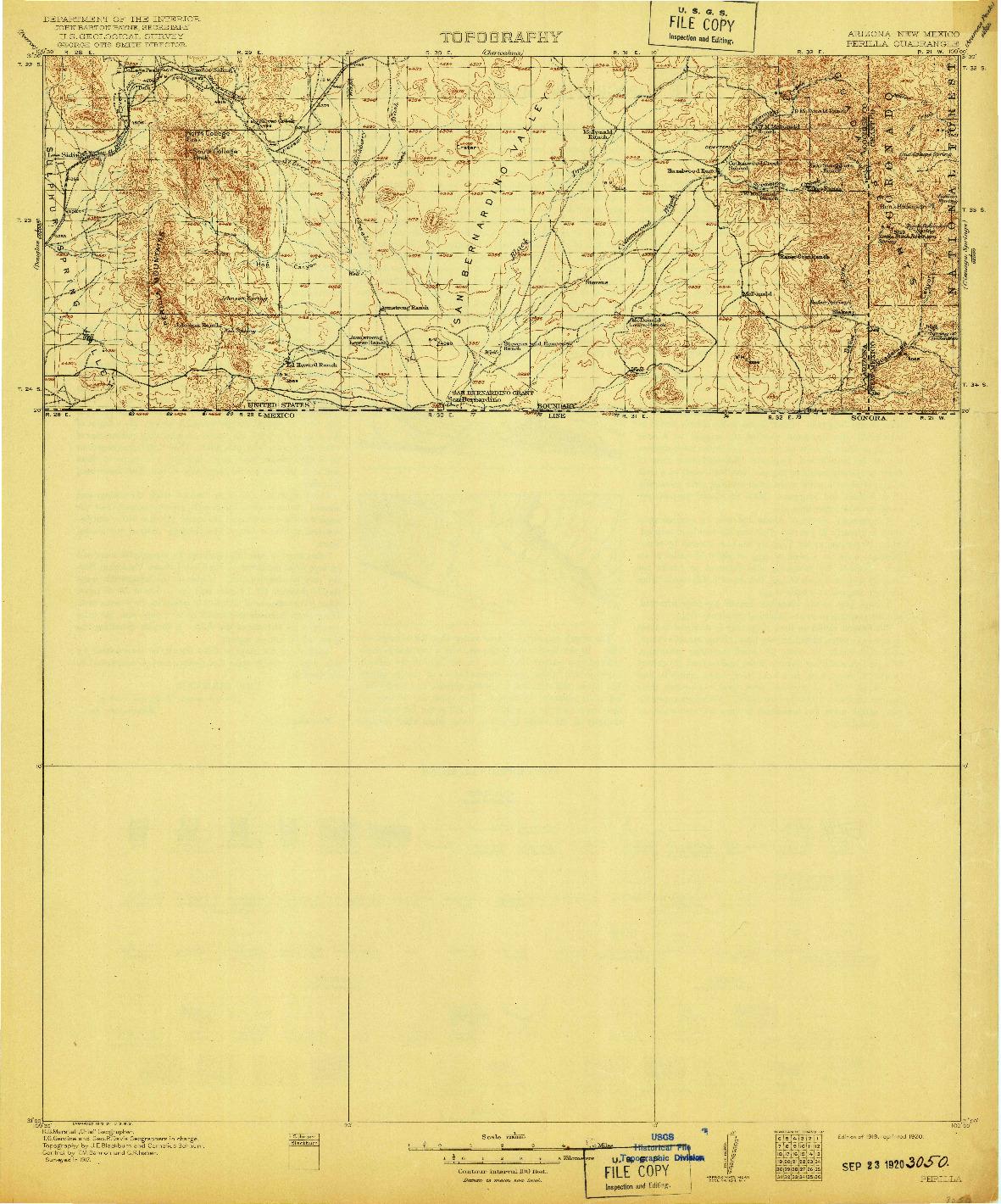USGS 1:125000-SCALE QUADRANGLE FOR PERILLA, AZ 1919