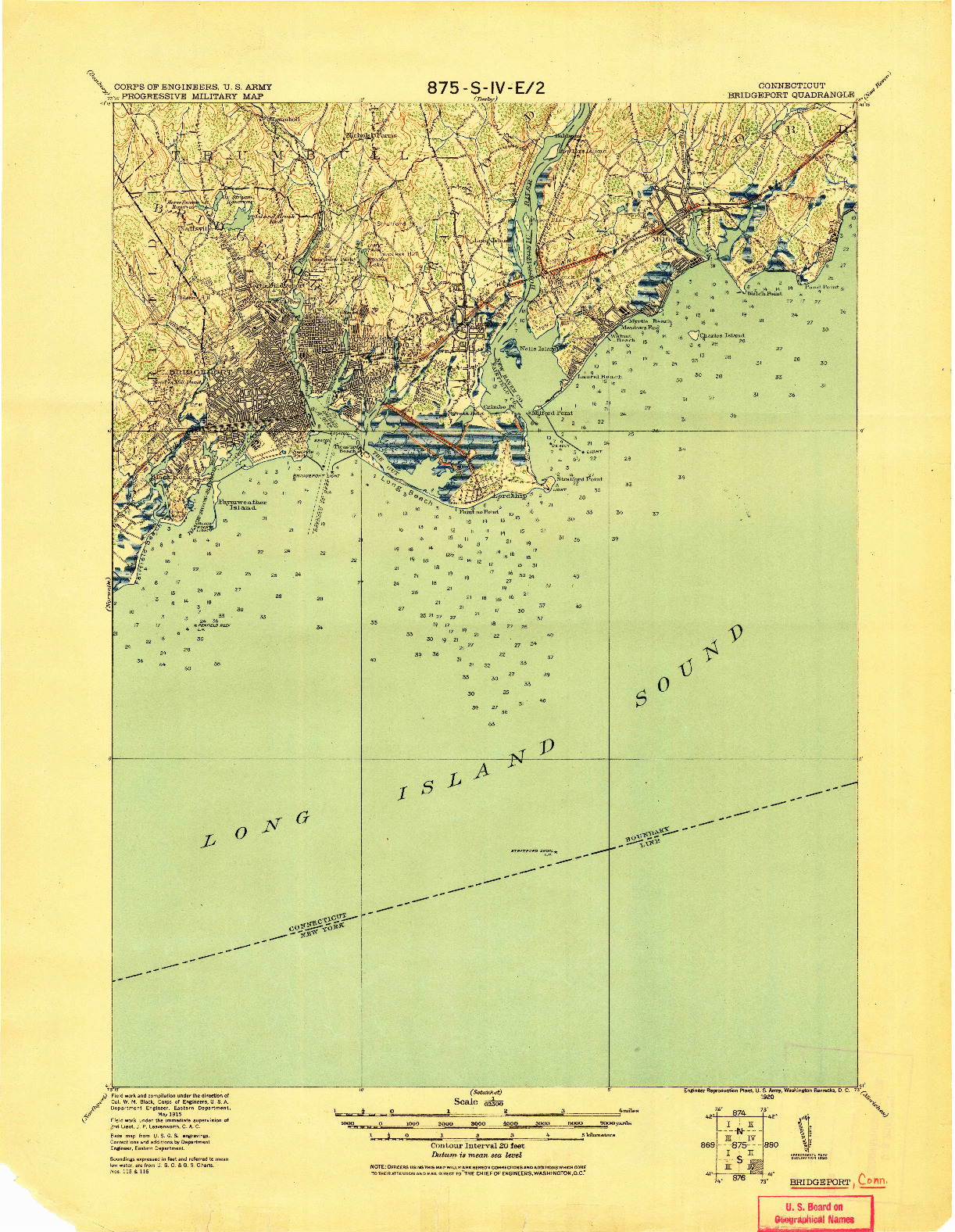 USGS 1:62500-SCALE QUADRANGLE FOR BRIDGEPORT, CT 1920